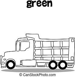 disegnare, camion, collezione, mano