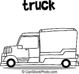 disegnare, carreggiare trasporto, collezione, mano