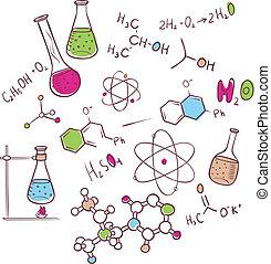 disegnare, chimica, fondo, mano