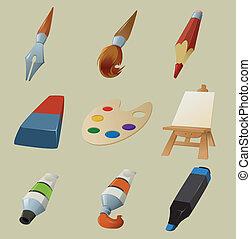 disegnare, collezione, icone