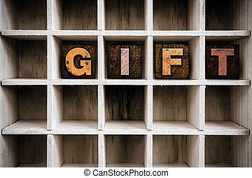 disegnare, concetto, regalo, letterpress, legno, tipo