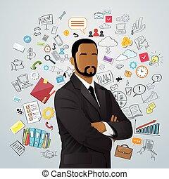 disegnare, concetto, scarabocchiare, sopra, schizzo, mano, americano, corsa, africano, uomo affari