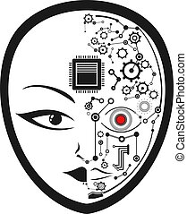 disegnare, cyborg, faccia, umano