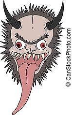 disegnare, demone, faccia animale