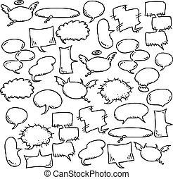 disegnare, discorso, bolle, mano
