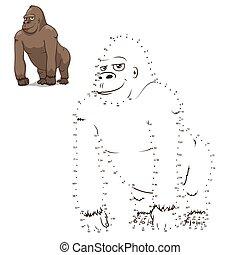 disegnare, educativo, gorilla, gioco, vettore, animale