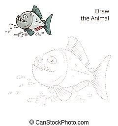 disegnare, educativo, piranha, gioco, vettore, animale