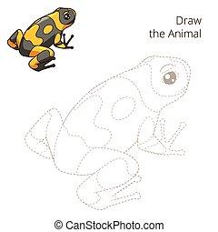 disegnare, educativo, rana, gioco, vettore, animale