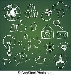 disegnare, elementi, affari, scetches, scarabocchiare, mano, infographic