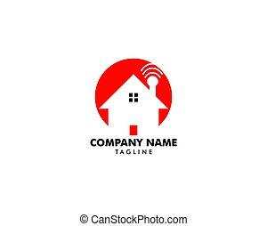 disegnare elemento, casa, logotipo, wifi