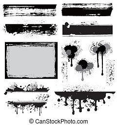 disegnare elemento, per, grunge, inchiostro
