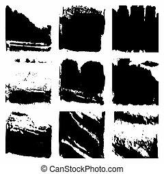 disegnare elemento, set, grunge, nero