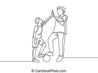 disegnare, esterno, parenting, cinque, singolo, gesture., continuo, disegno, concetto, gioco, dare, insieme, alto, padre, disegno, linea, football, vettore, illustrazione, campo, figlio