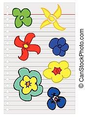disegnare, fiori, schizzo, mano