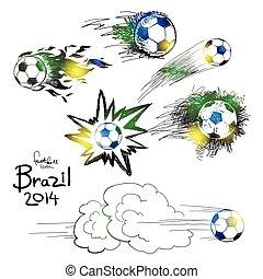 disegnare, football, mano