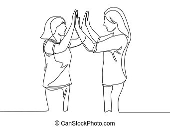 disegnare, gesto, quando, reunite, amicizia, cinque, singolo, ragazze, meglio, continuo, disegno, concetto, dare, alto, due, disegno, linea, vettore, illustrazione, amici, meeting.