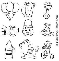 disegnare, giocattolo, mano, bambino, cartone animato, icona