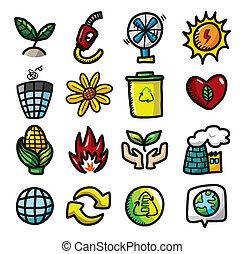 disegnare, icone, eco, mano, cartone animato