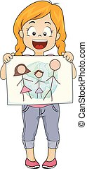 disegnare, illustrazione, nostro, mondo, ragazza, prescolastico, capretto