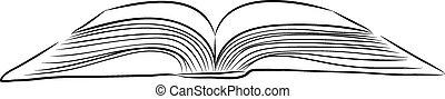 disegnare, libro, mano aperta