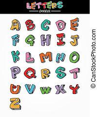 disegnare, mano, lettere, elemento