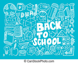 disegnare, mano, scuola, elemento