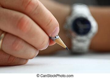 disegnare, matita, pronto, titolo portafoglio mano, semplice, maschio