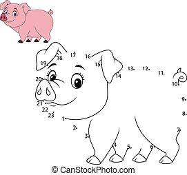 disegnare, numero, animale, collegare