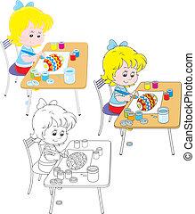 disegnare, ragazza, uovo di pasqua