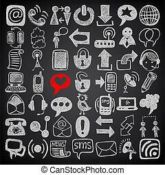 disegnare, set, 49, comunicazione, collezione, schizzo, mano, sfondo nero, icone, elemento