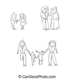 disegnare, set, famiglia, persone, coppia, schizzo, mano, cartone animato