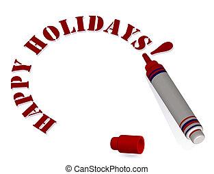 """disegnare, testo, isolato, illustrazione, fondo., vettore, """"happy, pennarello, bianco, holidays"""", 3d"""