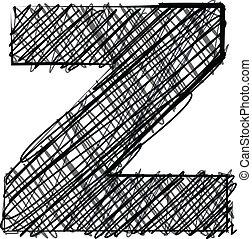 disegnare, z, font., lettera, mano