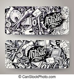 disegnato, artista, mano, monocromatico, vettore, disegno, grafica, cartelle, doodles, cartone animato, id