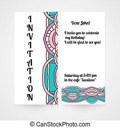 disegnato, astratto, invito, pattern., mano