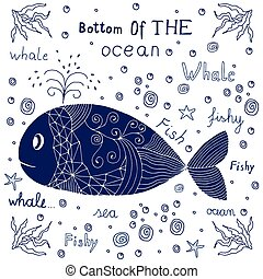 disegnato, balena, mano, etichetta