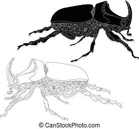 disegnato, beetle., sketch., mano