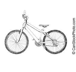 disegnato, bicicletta, -, mano