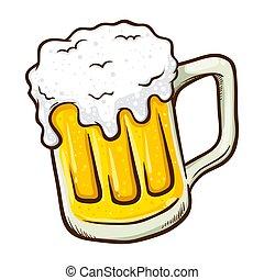 disegnato, birra, mano, vetro