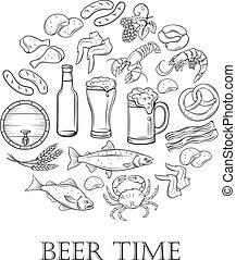 disegnato, birra, spuntino, mano