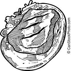 disegnato, bistecca, mano