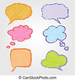 disegnato, bolle, discorso, mano
