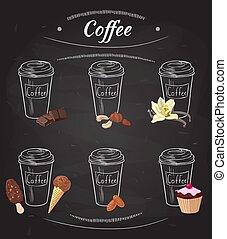 disegnato, caffè, collezione, mano