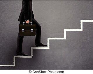 disegnato, camminare, uomo affari, scale, mano