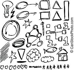 disegnato, cerchio, set, mano, forme