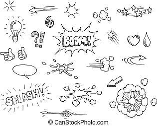 disegnato, comico, elementi, mano