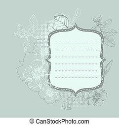 disegnato, cornice, fiori, mano