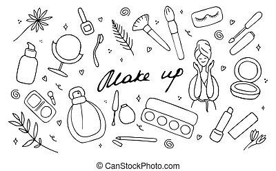 disegnato, cura, femmina, vettore, illustrazione, simboli, prodotti, icona, differente, fare, visage., collezione, su, set., mano, bellezza, accessoires, pelle