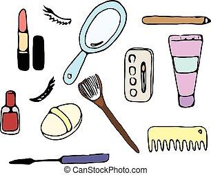 disegnato, donne, set, cosmetico, mano