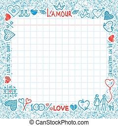 disegnato, elementi, amore, mano
